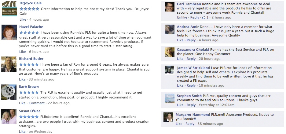 Testimonials from real PLR.me customers...