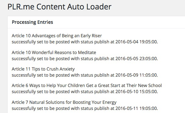 Content Auto Loader - WordPress Plugin processing new posts for scheduling