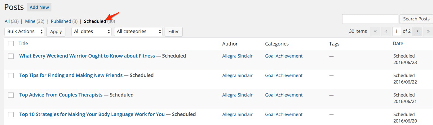 Look at all the scheduled posts - automatically done by the Content Auto Loader